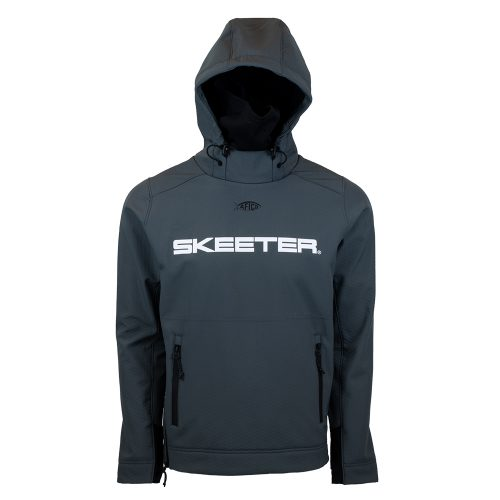 Charcoal Reaper softshell with skeeter logo on front